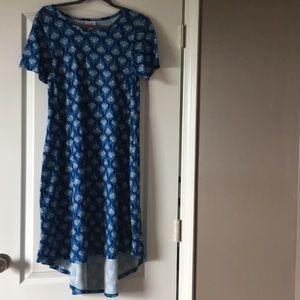 Blue peacock print, leggings material dress!